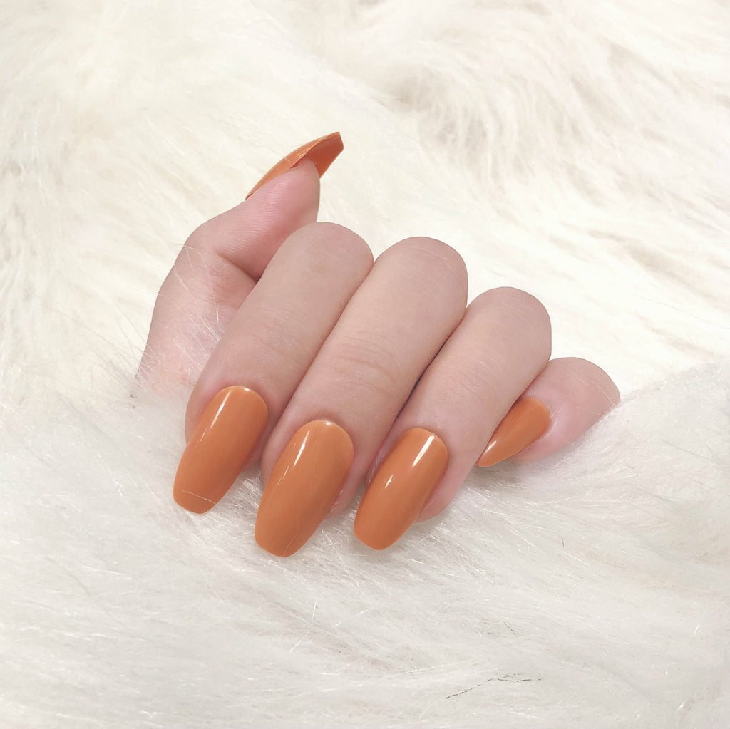 Summer Orange Magic Press On Nail Manicure