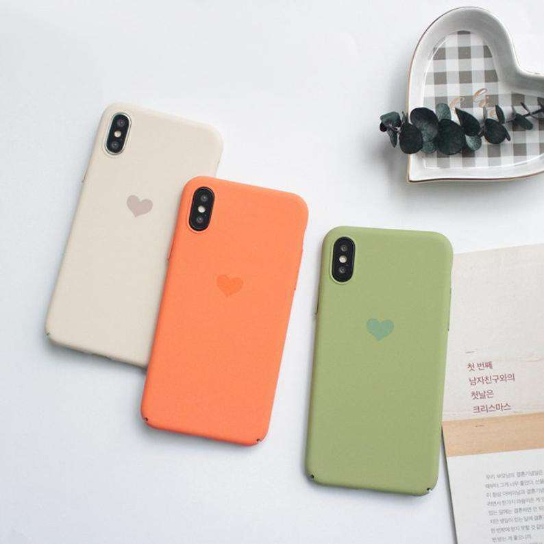 Silicone Solid Candy Color Heart Pattern iPhone Case