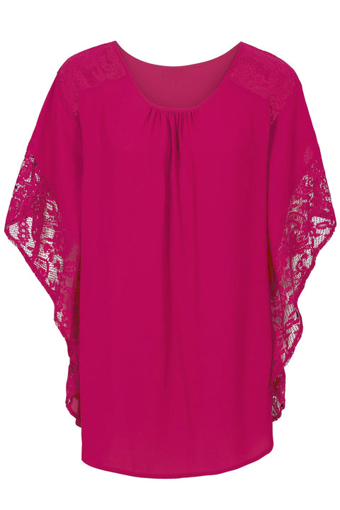 Rosy Lace Splice Batwing Sleeve Chiffon Blouse gallery 3