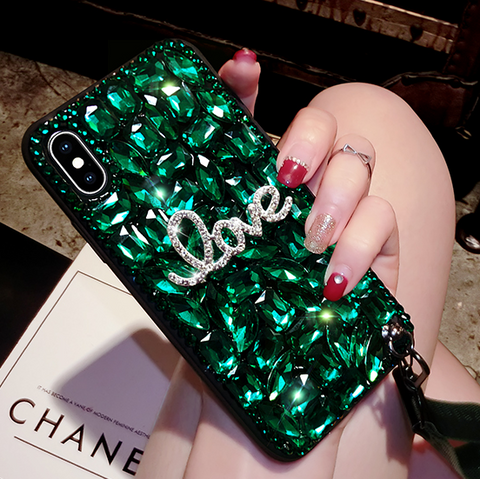 Letter Rhinestone Phone Case for Samsung with Wrist Strap gallery 5