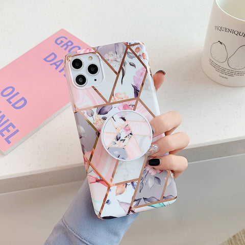 Rhombus Stitching Marble Phone Case for Samsung with Phone Holder gallery 2