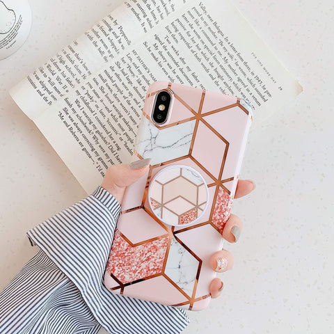 Electroplate Plaid Print Phone Case for Samsung with Phone Holder gallery 2
