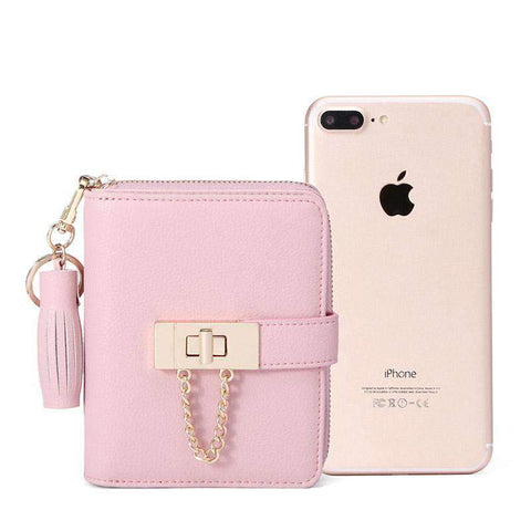 Cow Leather Cute Pink All-Match Short Sized Wallet With Chain And Tassel Element gallery 6