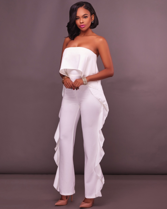Solid Frill Hem Strapless Tube Jumpsuit