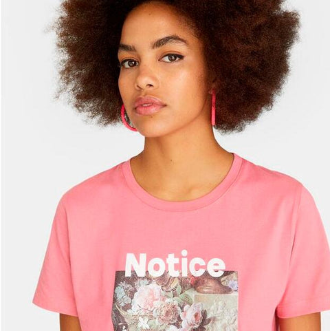 Pink Short Sleeve Print Fitted Tee gallery 1
