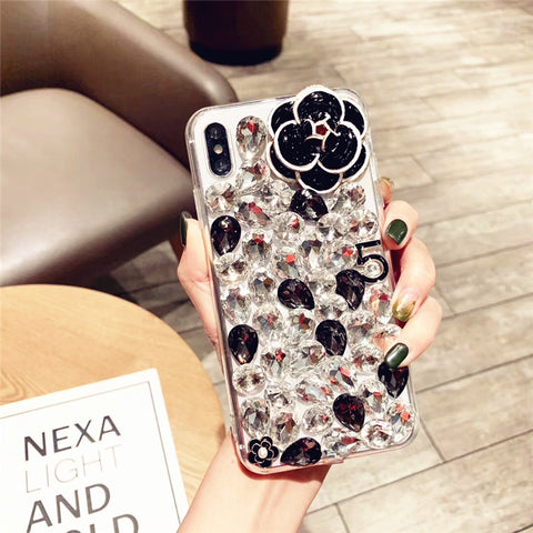 Camellia Full Rhinestone Cover Phone Case for Samsung gallery 5