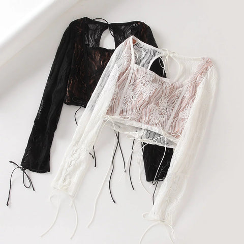 Lace Panel Square Collar Tie Self Cropped Shirt gallery 4