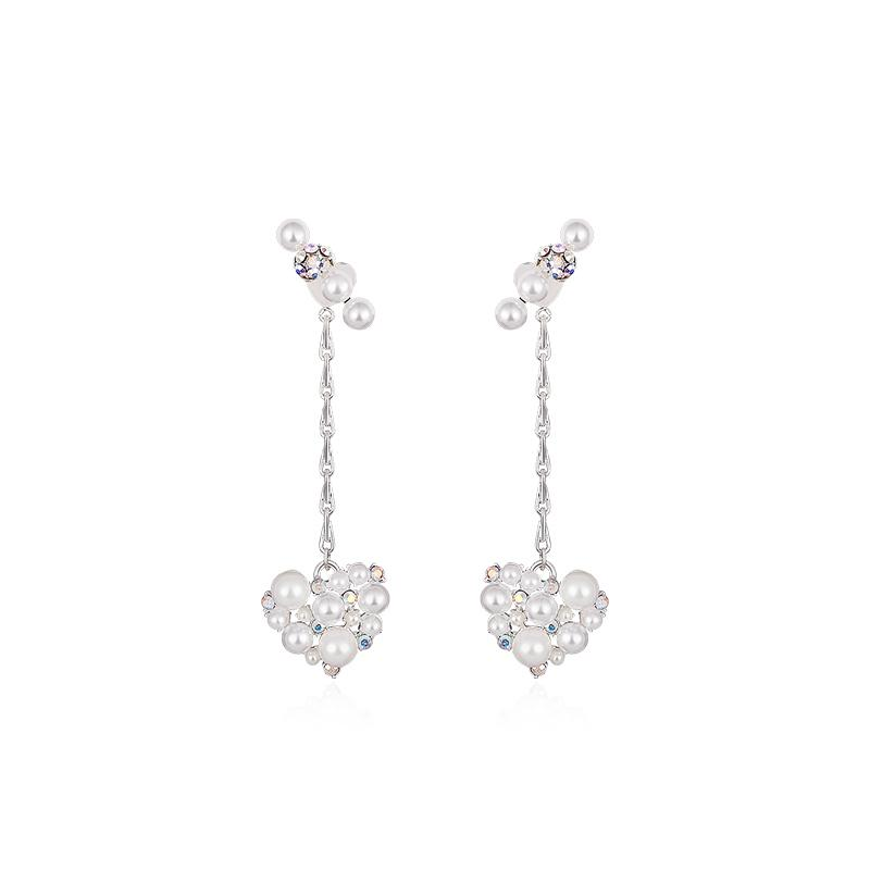 Pearls Heart Shape Drop Earrings