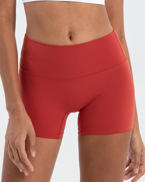 Solid High Waist Sports Shorts gallery 11