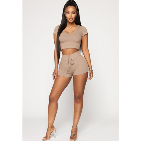 Hooded Ribbed Tie Front Scoop Neck Cropped Top & Short Set