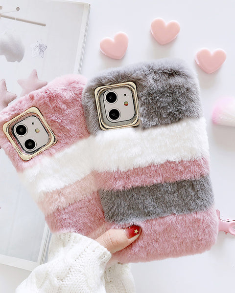 Fluffy Contrast Color Cross Stripes iPhone Case