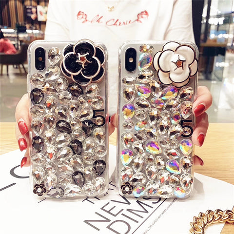 Camellia Full Rhinestone Cover Phone Case for Samsung gallery 1