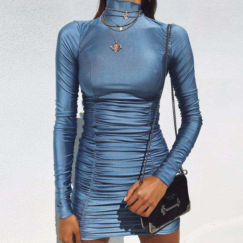 Roll Neck Slinky Plunge Ruched Dress