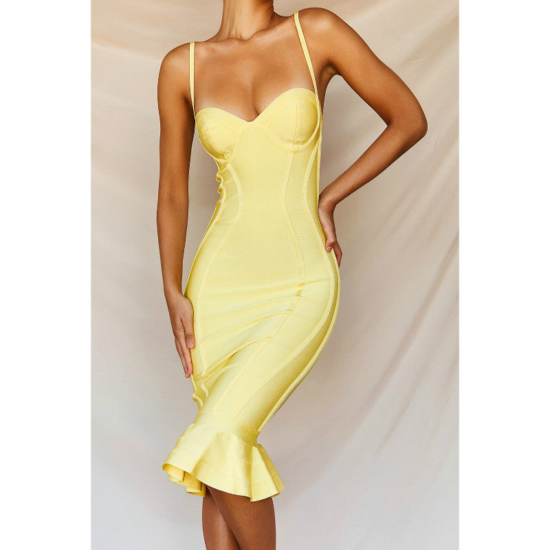 Light Yellow Frill Hem Party Dress
