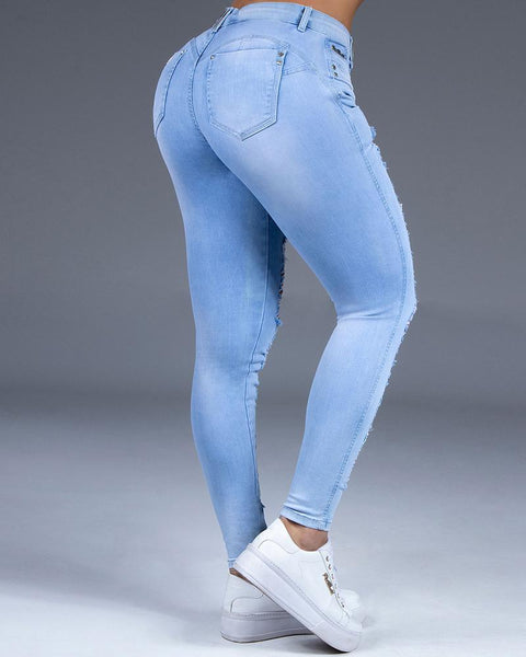 Extreme Distressed Stretch Butt Lifting Skinny Jeans gallery 5
