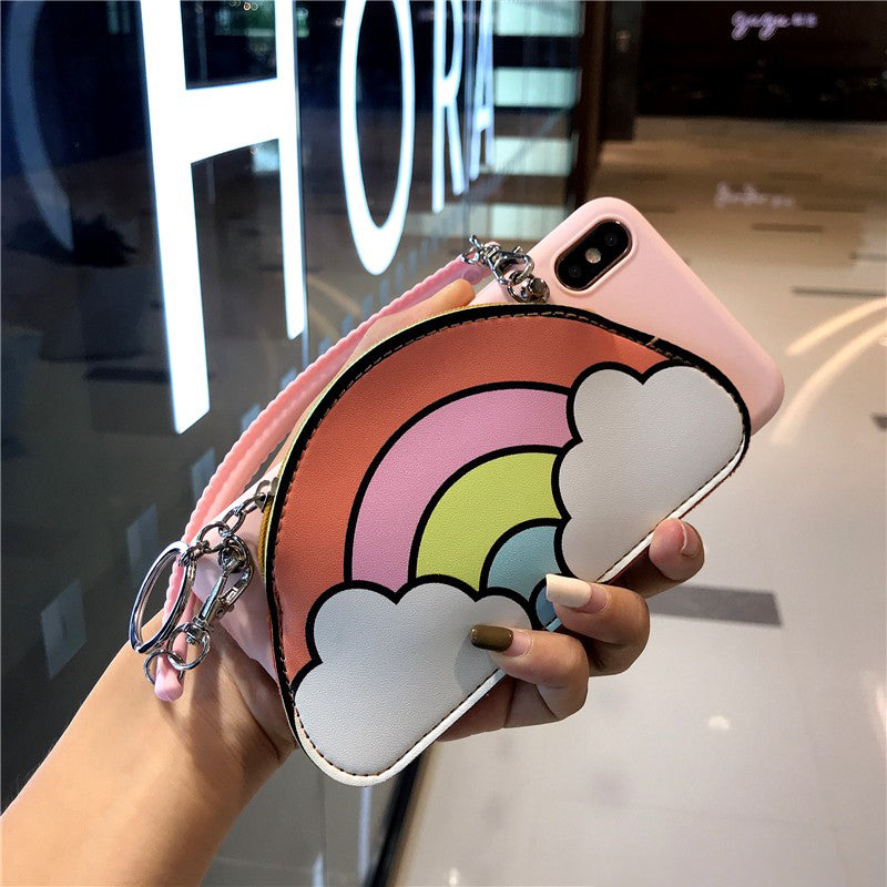 Rainbow & Cloud Coin Purse Phone Case For All iPhone with Rope & Handle