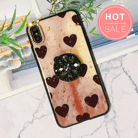 Polka Hearts Pattern iPhone Case with Phone Holder and Hand Strap