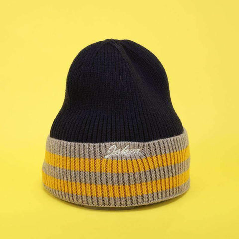 Embroidery Letter Striped Beanie Hat gallery 4