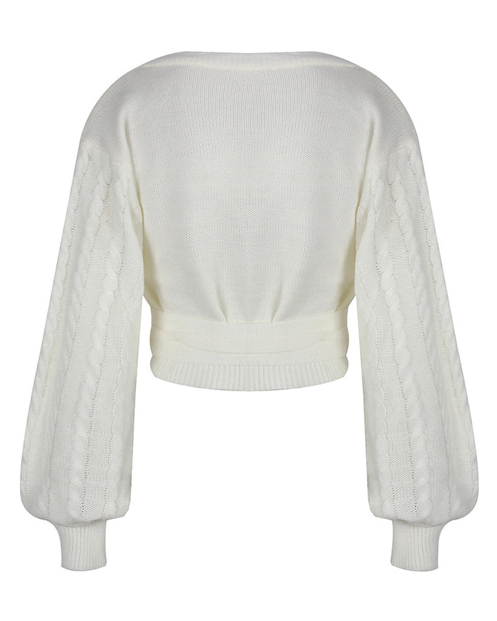 Solid Cable Knit Surplice Self-Tie Sweater gallery 5