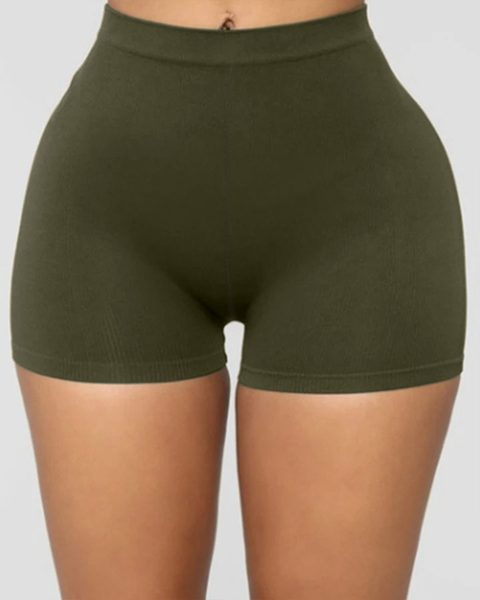 Solid Ribbed High Waist Shorts gallery 1