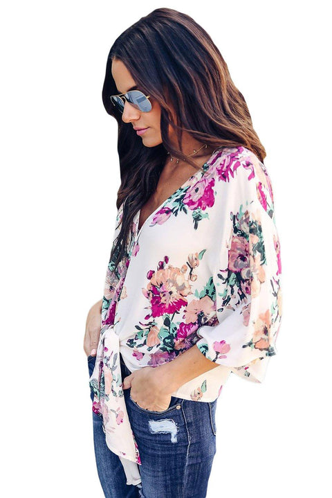 Floral Print Tie Front Kimono Sleeve Blouse gallery 2