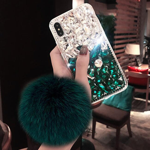 Stitching Rhinestone Deco Phone Case for Samsung with Pom-pom gallery 2