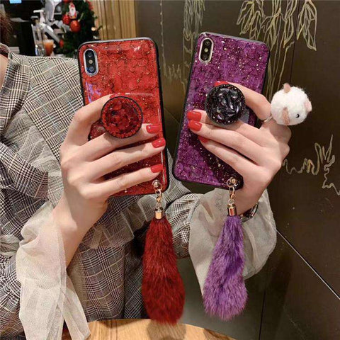 Soft Case Colorful Marble Pattern For Iphone With Holder And Fur Pendant