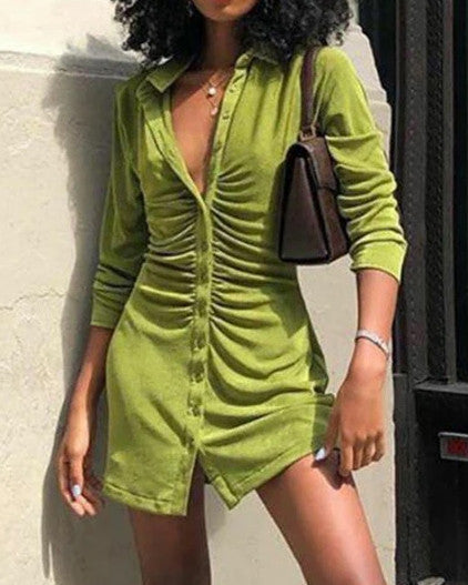 Solid Ruched Button Front Shirt Collar Long Sleeve Mini Dress