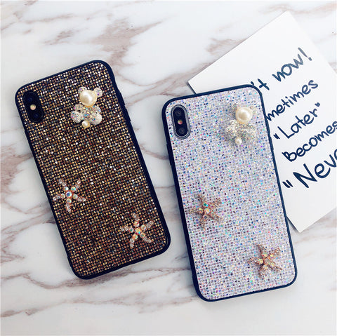 Bear & Starfish Pearl Deco Full Glittering Phone Case for Samsung gallery 7