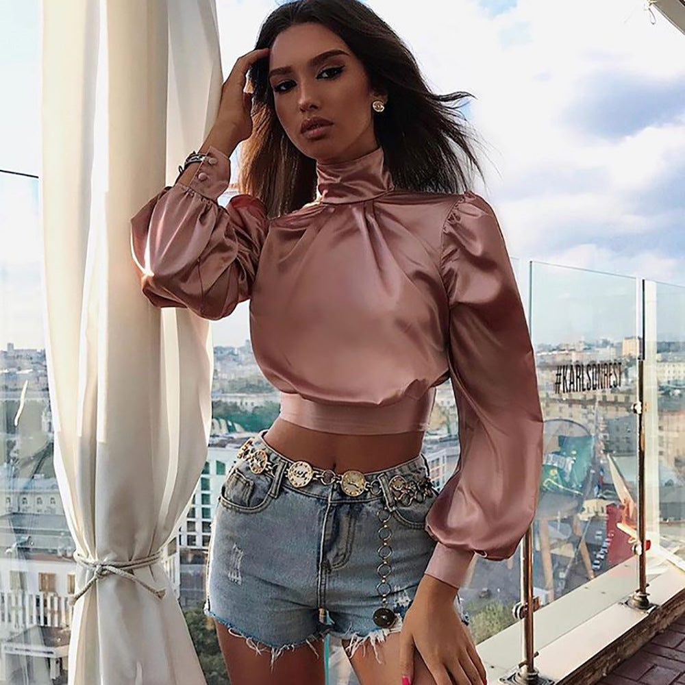 Turtleneck Backless Tie Back Satin Cropped Shirt