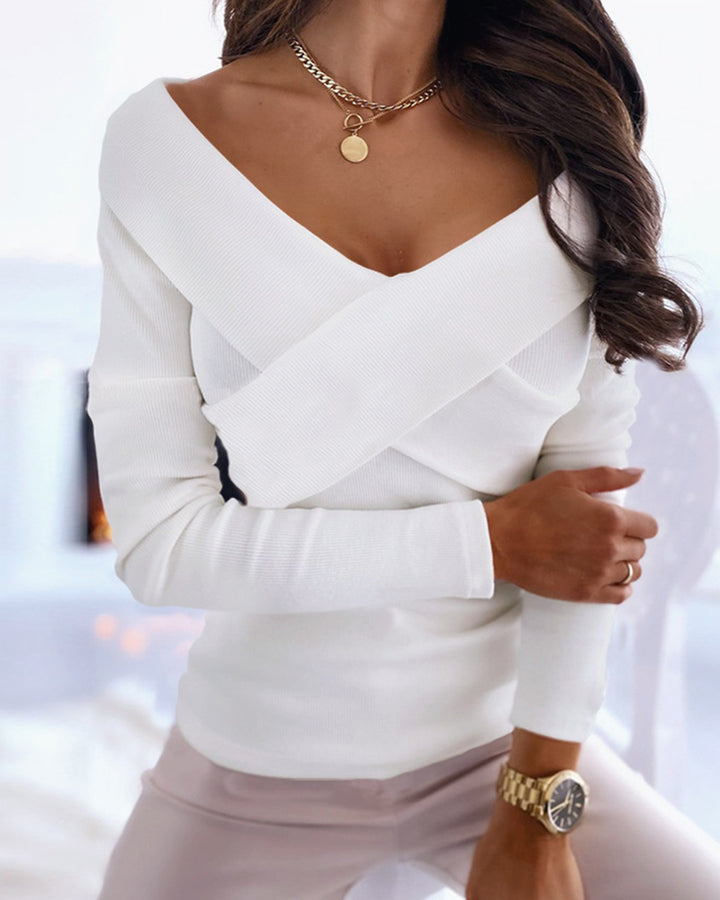 Surplice Neck Overlap Ribbed Knit Sweater gallery 4