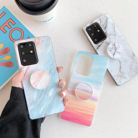 Smooth Marble Crack Detail Phone Case with Phone Holder gallery 2