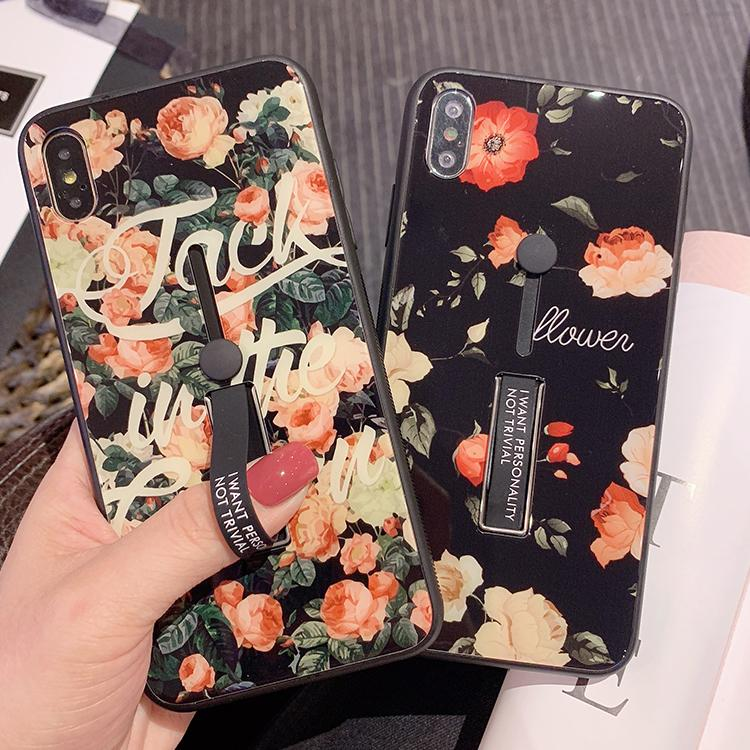 Flowers And Letters With Wrist Strap And Phone Stand Phone Case For All Apple Phone - Iphone XR