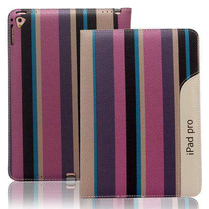 Patchwork Stripe Leather Apple iPad Cover Case gallery 1