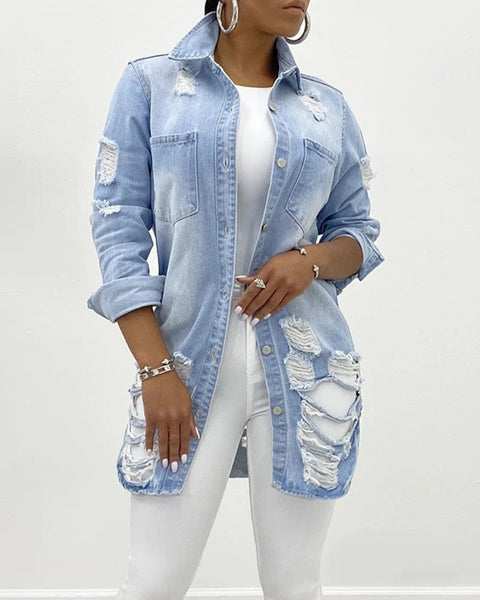 Dual Pocket Extreme Ripped Button Through Denim Coat