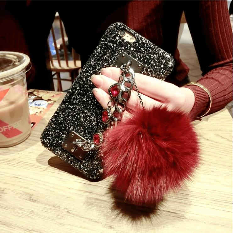 Luxury Bling iPhone Case with Chain and Fuzzy Furry Plush Ball