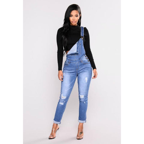 Fashion Distressed Cropped Suspender Jeans
