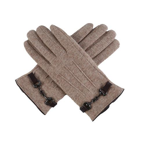 4 Colors Strap Decor Knit Touch Screen Gloves