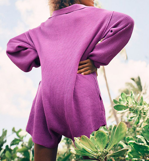 Button Up Pocket Side Rib-Knit Sweater Romper gallery 4