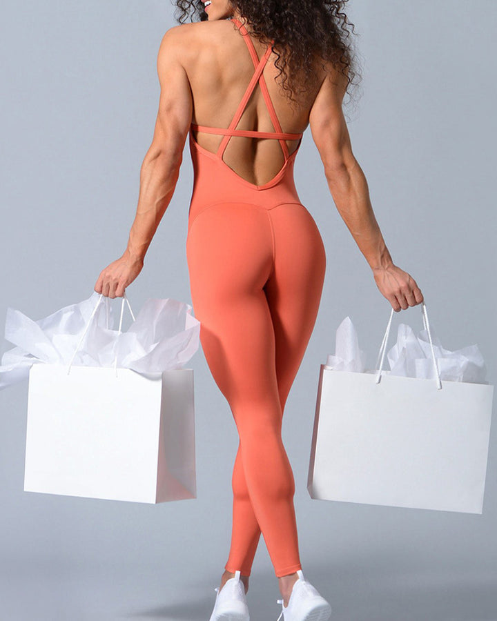 Criss Cross Cut Out Back Sports Jumpsuit gallery 11