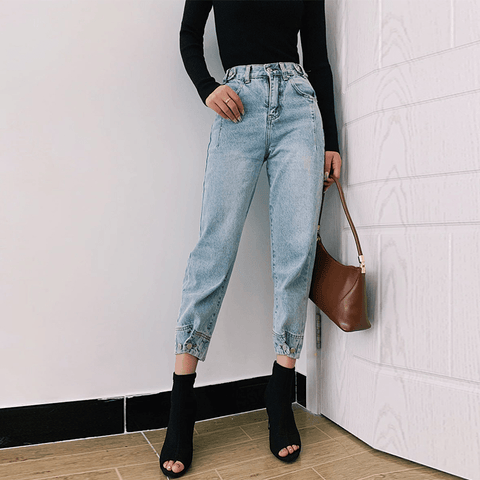 3 Colors High Rise Button Detail Mom Jeans gallery 2