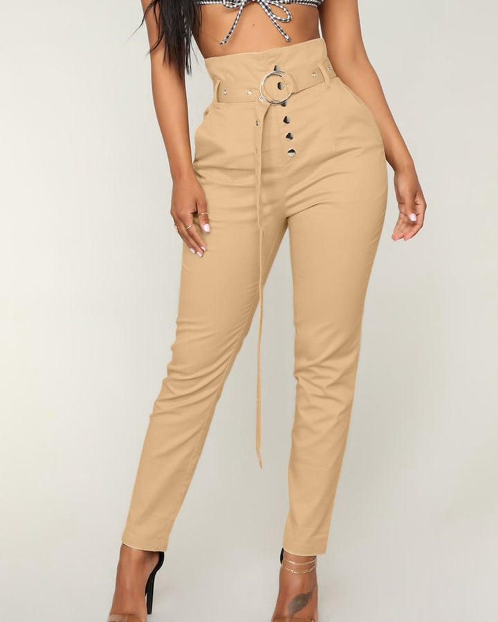 Solid Studded Button Front Pants With Belt gallery 1