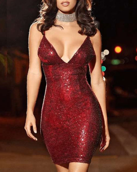 Sexy Low Cut Glitter Sequin Strappy Bodycon Dress gallery 1