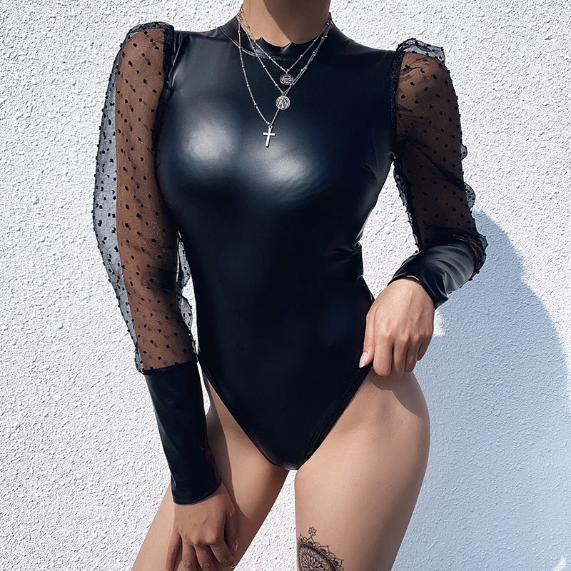 PU Leather Dobby Mesh Puff Sleeve Bodysuit