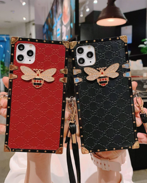 Cute Golden Bees Pattern iPhone Case with Hand Strap gallery 1
