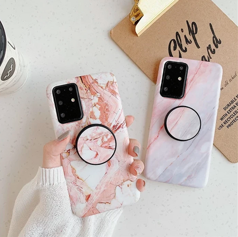 Pink Marble Print Phone Case for Samsung with Phone Holder gallery 1