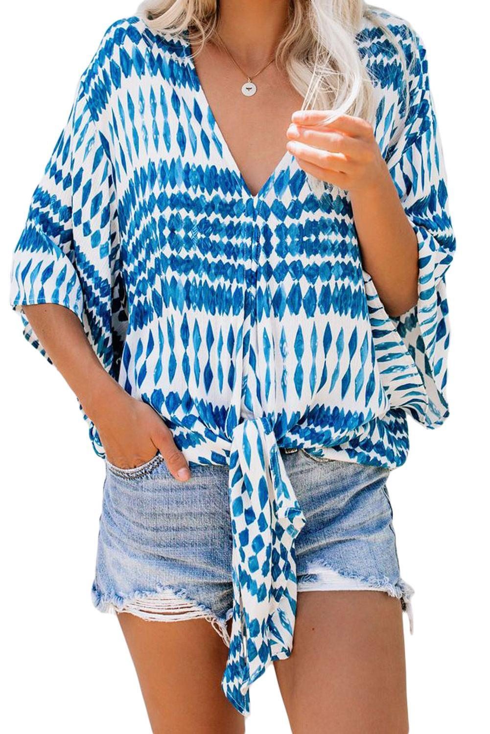 Blue Floral Printed Deep V Neck Tie Front Blouse