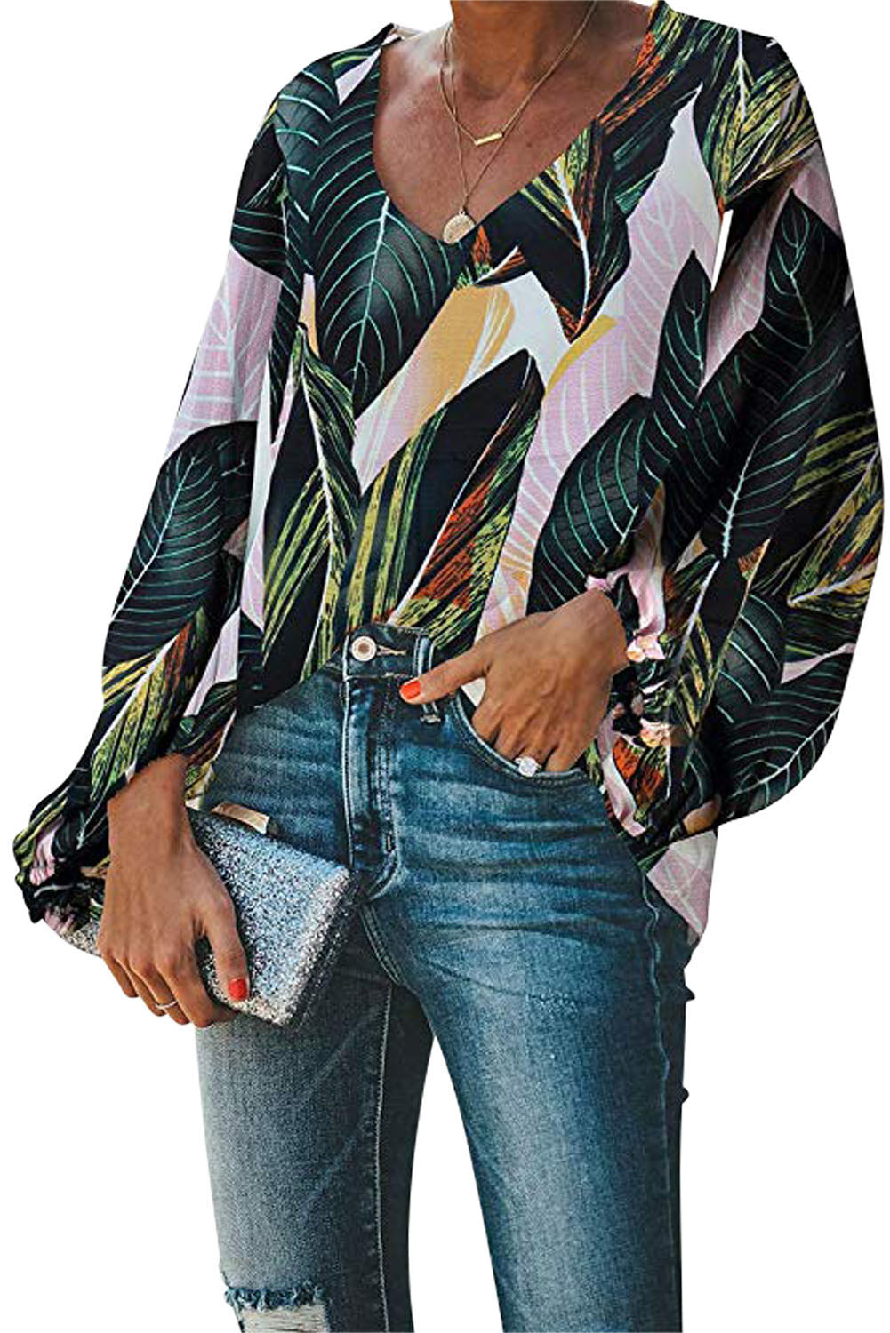Green Boho Print Balloon Sleeve Blouse