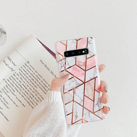 Electroplate Rhombus Marble Phone Case for Samsung gallery 7
