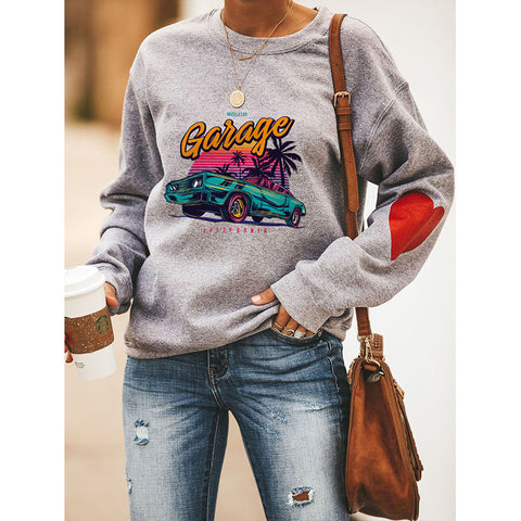 Car & Letter Graphic Drop Shoulder Sweatshirt